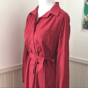 Vintage 1970s 1980s red polka dot shirt dress